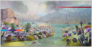 10_Green Landscape - acrylic and print on canvas 96x48 2015