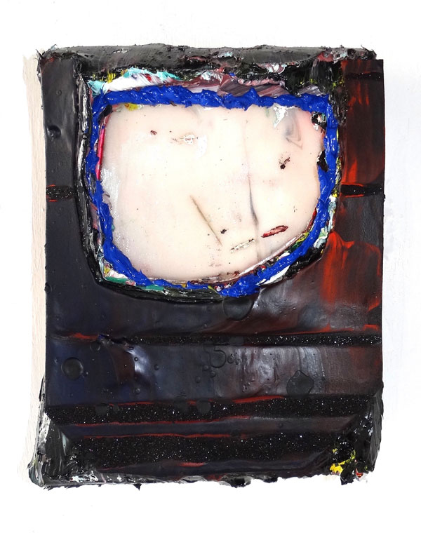 Mandy Lyn Ford, June Bug, 2016, oil paint, acrylic, sparkle foam, supergel, and canvas on wood panel, 12 by 10 inches