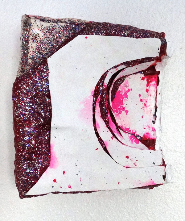 Mandy Lyn Ford, Grody Jody, 2015, acrylic, sparkles, and super gel and canvas on ceramic, 11-1/2 by 11 by 6 inches