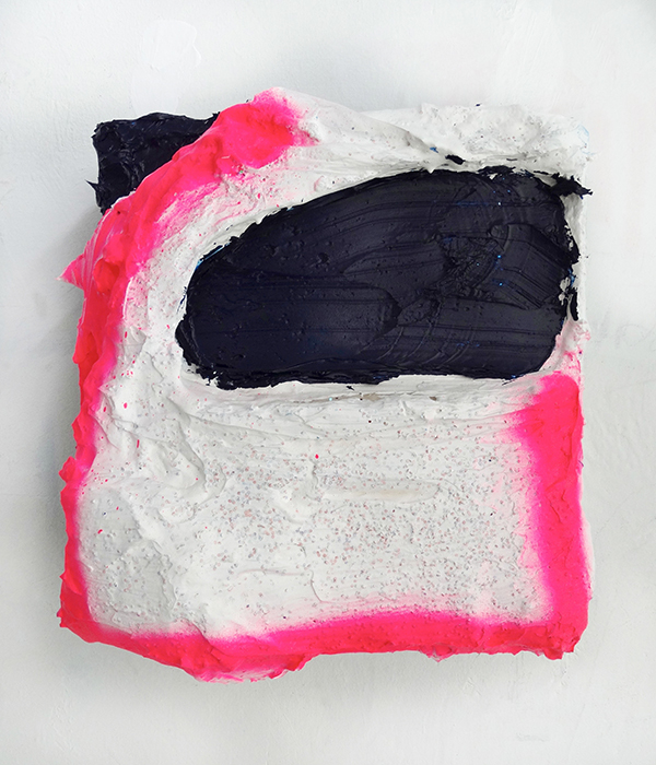 Mandy Lyn Ford, Blood Hound, 2015, gesso, spray paint, sparkles, super gel on wood panel, 10-1/2 by 9 inches